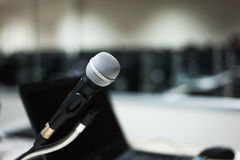Microphone in computer lab soft light Stock Photo