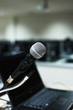 Microphone in computer lab soft light Stock Photos