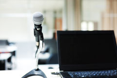 Microphone in computer lab soft light Stock Images