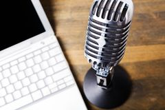 Microphone. Computer The Media Multimedia Commentator Podcasting Laptop royalty free stock photography