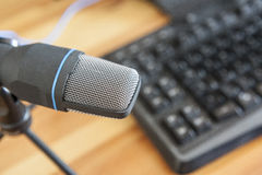 Microphone with computer Stock Image