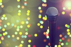 Microphone. Concept music, concert, karaoke, poster. Copy space. Microphone. Concept music, concert, karaoke, poster Copy space Dark background bokeh Stock Photography