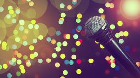 Microphone. Concept music, concert, karaoke, poster. Copy space. Microphone. Concept music, concert, karaoke, poster Copy space Dark background bokeh Stock Images