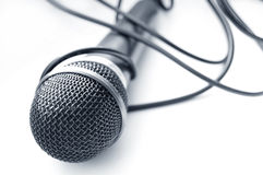 Microphone conceptual image. Approximation of isolated microphone Royalty Free Stock Photography