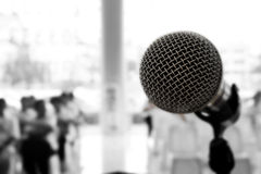 Microphone in concert hall or conference room, Black and White Royalty Free Stock Image