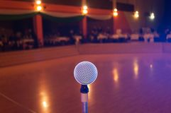 Microphone in concert hall or conference room Stock Photography