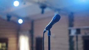 Microphone On Concert Stage stock footage