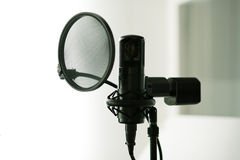 Microphone (condenser). Condenser microphone in a studio in Berlin royalty free stock photo