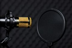 Microphone Condenser sound absorbing wall room royalty free stock photography