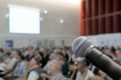 Microphone at conference. Royalty Free Stock Photography