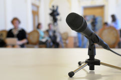 Microphone at conference. Stock Photos