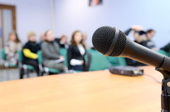 Microphone at conference. Royalty Free Stock Image