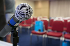 Microphone at conference hall. Stock Photography