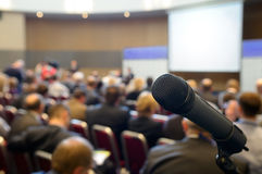 Microphone at conference hall. Royalty Free Stock Photography