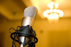 Microphone in the conference hall. royalty free stock images