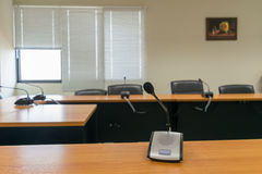 Microphone of conference hall room. Background Royalty Free Stock Photos