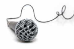 Microphone connected. Professional microphone with a cable connected Royalty Free Stock Photography