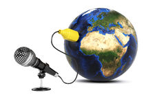 Microphone connected to the Earth. On white background. Global communication concept. 3d rendering image. Earth texture source http://visibleearth.nasa.gov Royalty Free Stock Photo