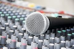 Microphone on a console Royalty Free Stock Photo