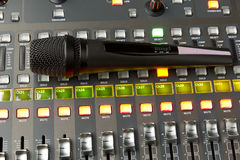 Microphone is on of the console Royalty Free Stock Image