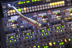 Microphone on the control panel Stock Photos