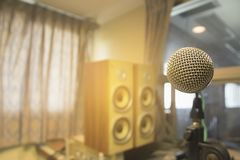 The microphone in the control room audio system of organizations and companies. Vintage audio recording equipment, sound mixer, on the board in the studio stock images