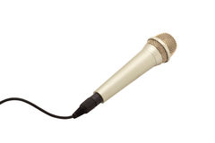 Microphone with a cord. On a white background stock photo