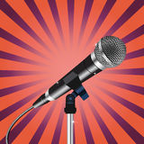 Microphone cord Rays zoom. Microphone with a cord on Rays zoom background vector Royalty Free Stock Photo
