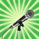 Microphone cord Rays zoom 3. Microphone with a cord on Rays zoom background vector 3 Stock Images