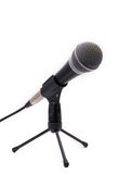 Microphone with cord on a stand. Isolated Royalty Free Stock Image