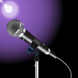 Microphone cord vector 3. Microphone with a cord on a Spotlight background 3 Royalty Free Stock Photography