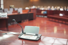Microphone at court house. Before the prosecution royalty free stock image