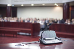 Microphone at court house. Before the prosecution stock photos