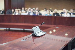Microphone at court house. During the prosecution royalty free stock photo