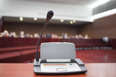 Microphone at court house. During the prosecution royalty free stock image