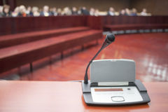 Microphone at court house. During the prosecution stock photography