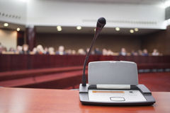 Microphone at court house Royalty Free Stock Photo