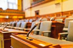 The microphone in a courtroom. The symbol of justice and equality Stock Photography