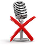 Microphone and cross (clipping path included) Royalty Free Stock Image