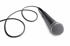 Microphone with curly cable Stock Photography