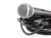 Microphone with curly cable Stock Images