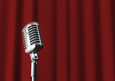 Microphone and curtain. 3D render of microphone with red curtain background Stock Photography