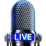 Microphone. 3D rendering of an microphone with an live icon Stock Image