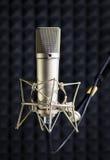 Microphone de condensateur dans le studio d'enregistrement photographie stock libre de droits