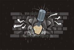 Microphone de main abstrait de haut-parleur de fond de musique Photo libre de droits
