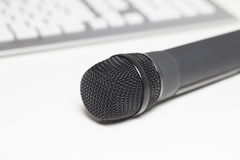 Microphone on desk Royalty Free Stock Photography