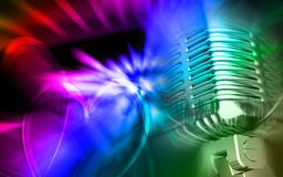 Microphone in digital colour background Royalty Free Stock Photo