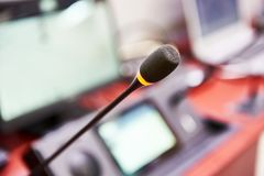 Microphone of digital conference system stock images