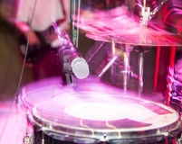 Microphone on the drums in the rock band Royalty Free Stock Photography