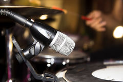 Microphone on the drums in the rock band Royalty Free Stock Photo